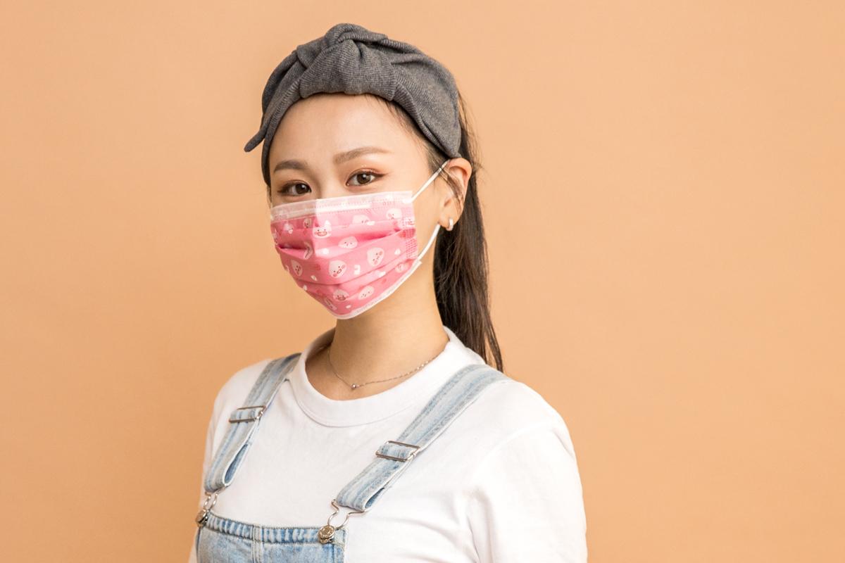 Kakao Friends 成人平面醫用口罩(20入)-Little Apeach大臉款(粉紅)【KF0300201201】