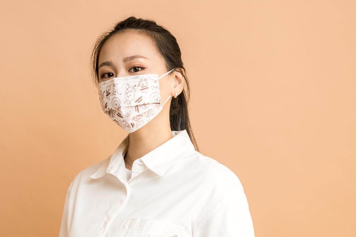 Kakao Friends 成人平面醫用口罩(20入)-Little大集合線條款(白)【KF0300201204】