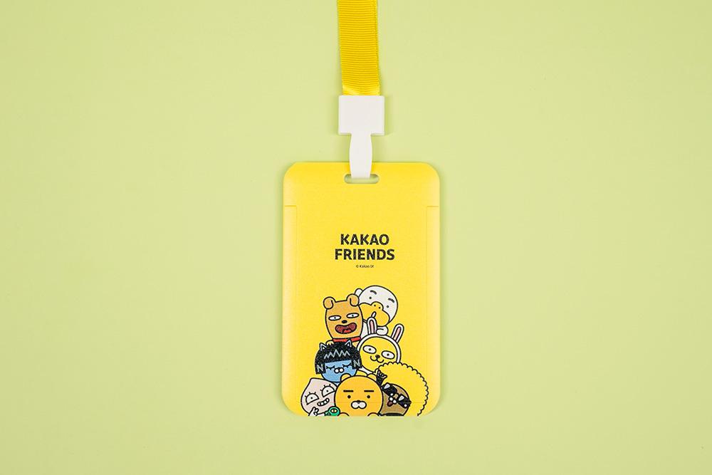 Kakao Friends-塑膠票卡夾-大集合款(黃)【KF0602010604】