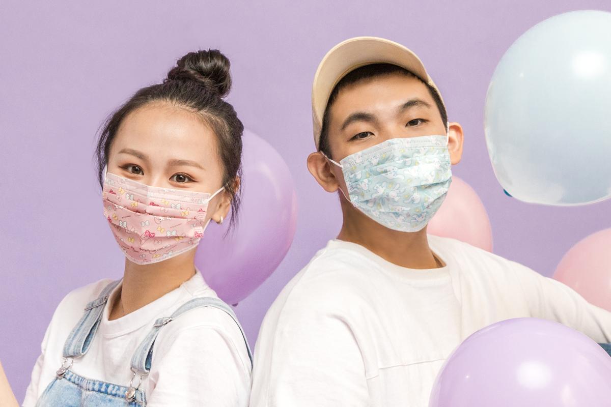 Sanrio三麗鷗- 成人平面醫用口罩(20入)-美樂蒂&彼安諾款(粉紅)【SR0100201107】